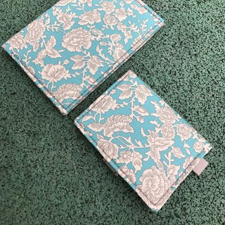Washed kraft paper. Patchwork | Porcelain Retro White Flower | Card Case / Octopus Set / Document Set