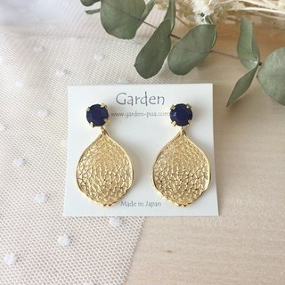 Leaf earrings navy