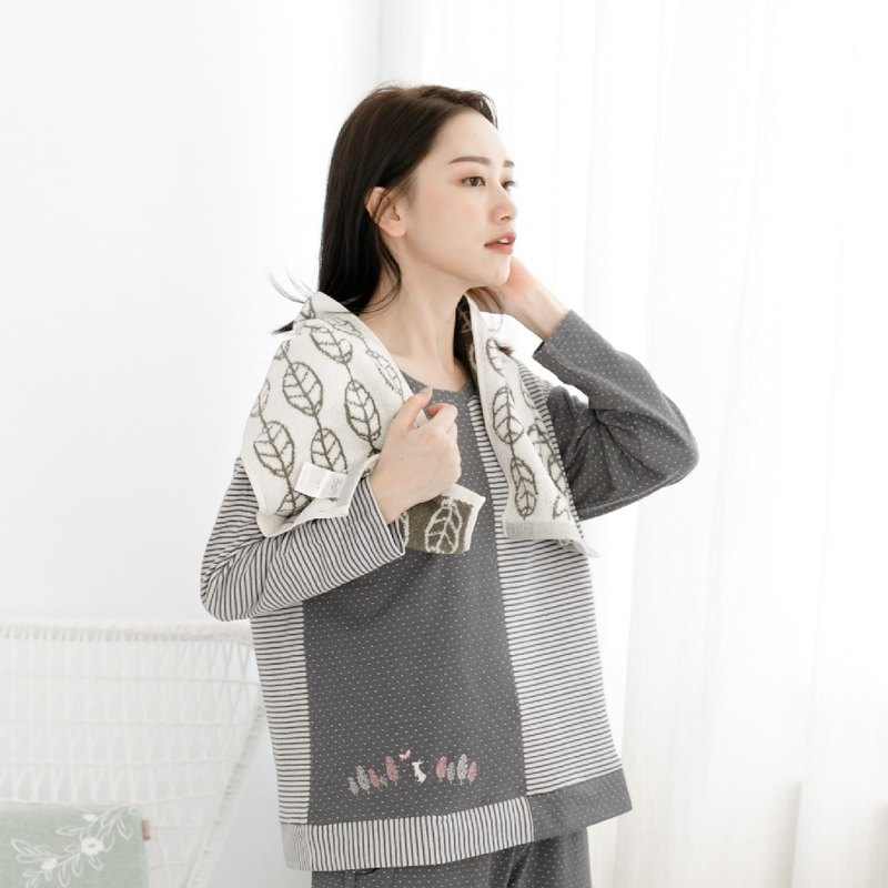 Beauty Skin Collagen Wavelet & Stripe Stitch Embroidered Homewear | Pajamas Homewear - Grey