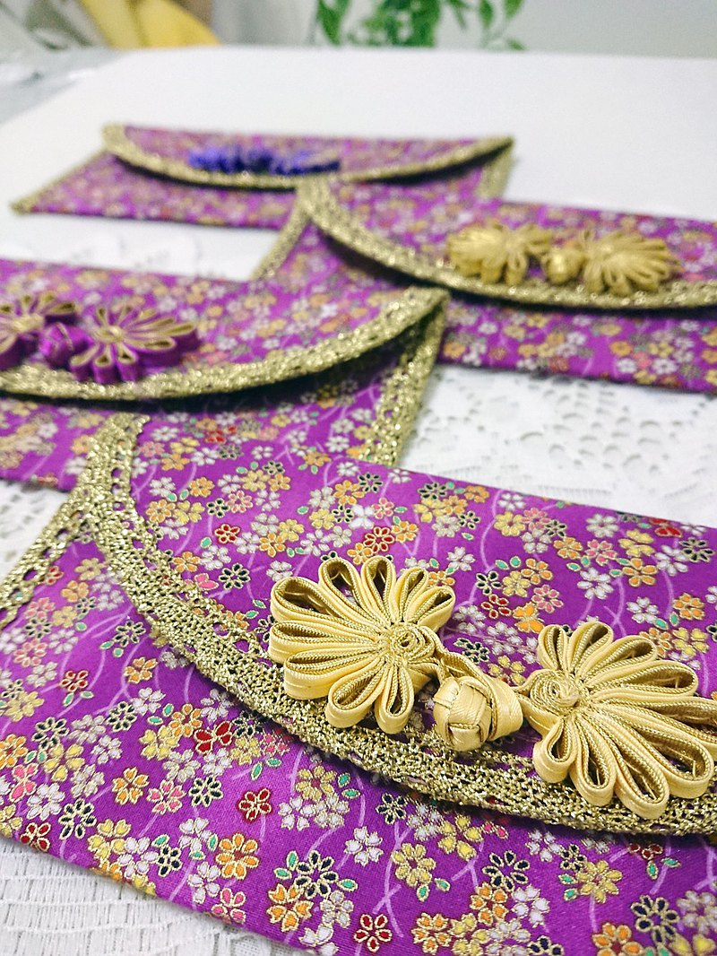 :: Cat Princess:: Red envelope with lace trim cloth. Purple Flower Rain 1 in