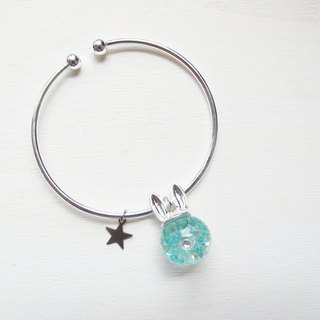 Rosy Garden tiffany blue crystals rabbit water inside glass ball bangle