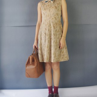 Handmade - light beige amoeba flocking printed bow sleeveless round dress