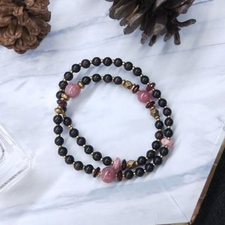 [The only product] small leaf purple altar*red stone*red garnet double circle bracelet Valentine's Day Christmas gift