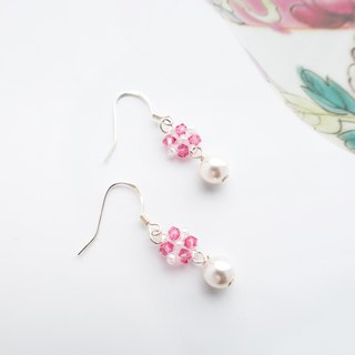 Beaded Series | Pinky Flower | Handmade 925 sliver earrings
