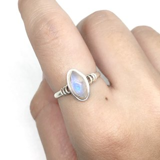 Moonlight stone 925 sterling silver simple horse eye rim ring Nepal handmade mosaic production