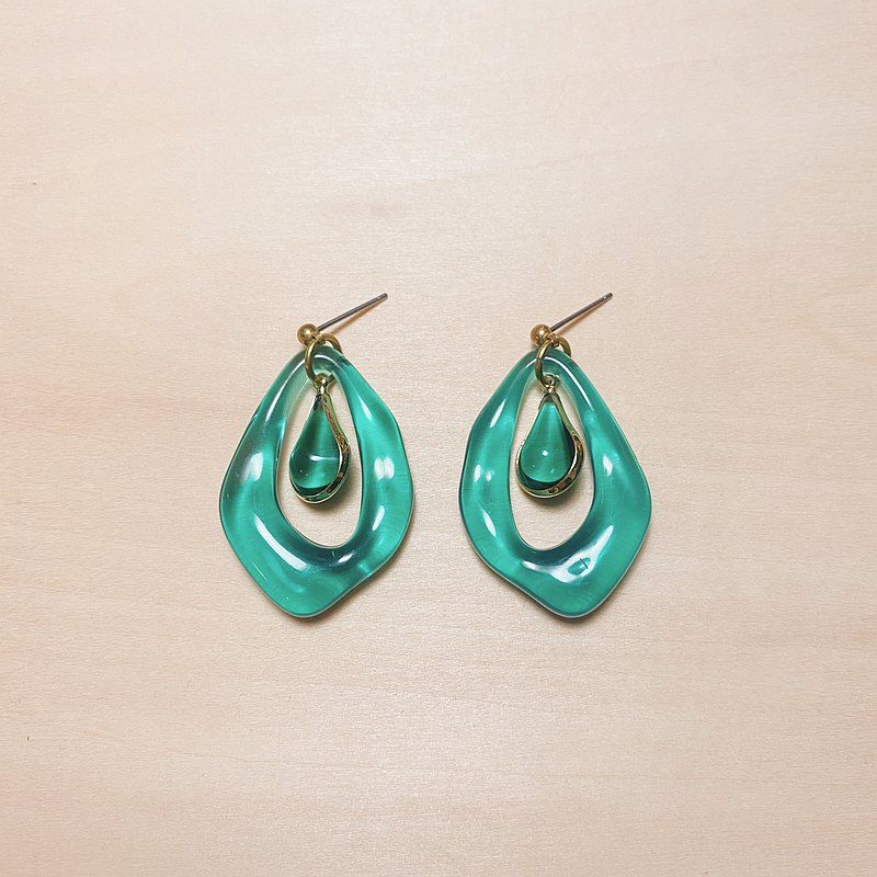 Retro Lake Green Irregular Water Wave Drop Earrings