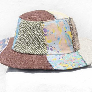 Moroccan wind stitching hand-woven cotton hat woven hat fisherman hat visor straw hat - desert oasis color