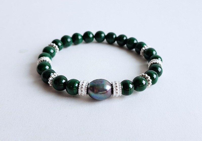 Gemstone Mela Natural Ore Black Pearl Malachite 925 Sterling Silver Bracelet