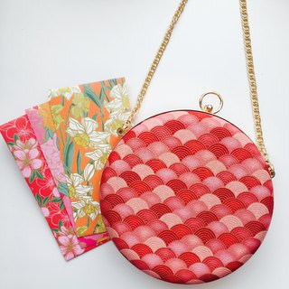Gradient red fan small bag - can be used to hold / Xiebei dual use
