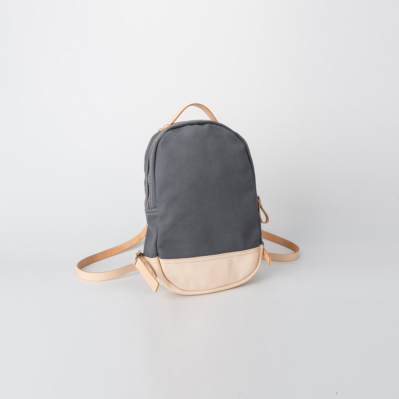 [Canvas meets leather] handmade versatile stitching casual canvas back pack minimalist Japanese style canvas bag