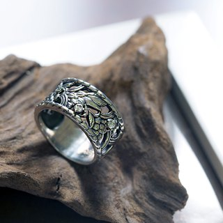 Raw-flower leaf diamond ring (wide) 925 sterling silver
