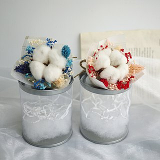 Sweet Time - Cotton Red Stars Flower Pot Gift Box Hand Tied Small Bouquet