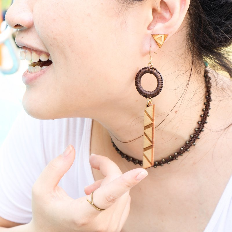 Sacred Geometry Tribal Dangle Earrings / Piercing