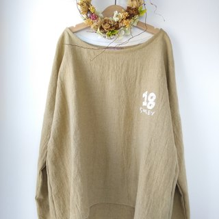 drop shoulder pullover/Japanese ramie linen×wool(ecru beige)