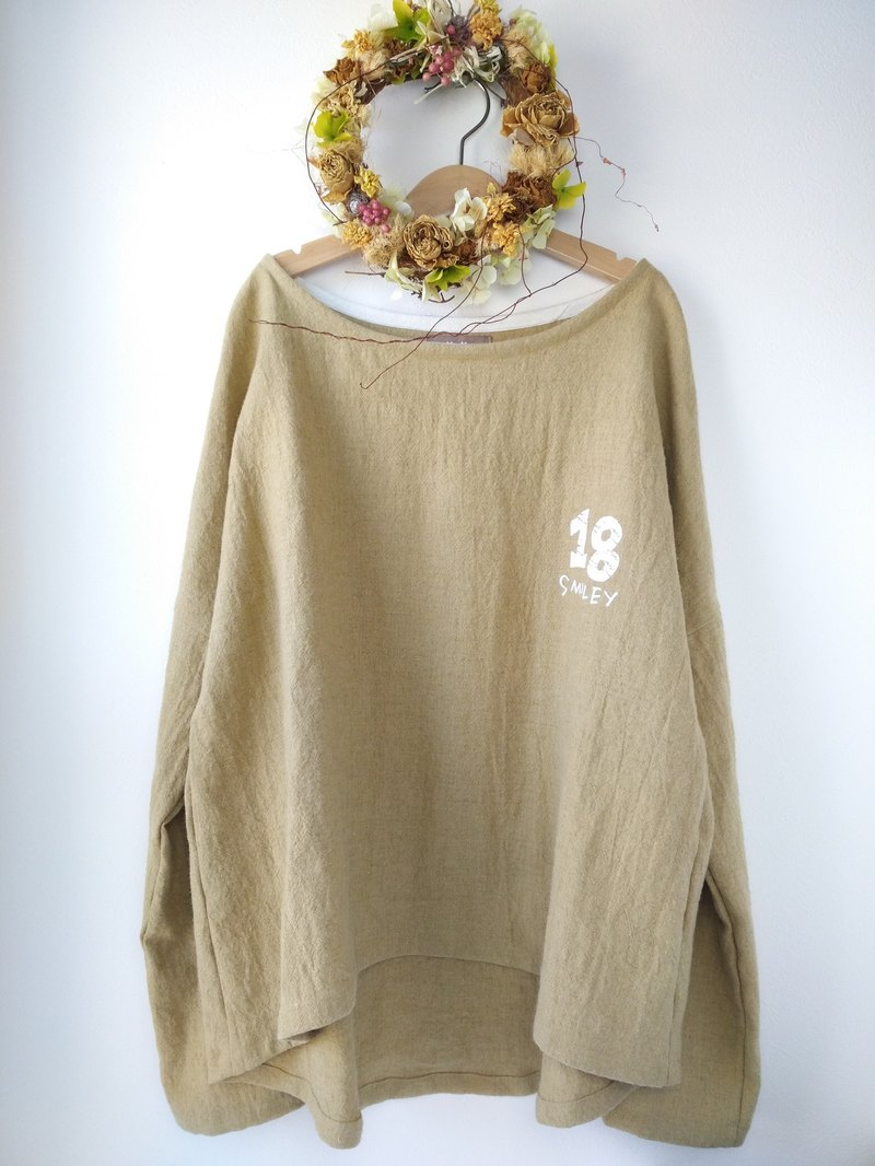 drop shoulder pullover/Japanese ramie linen×wool/ecru beige