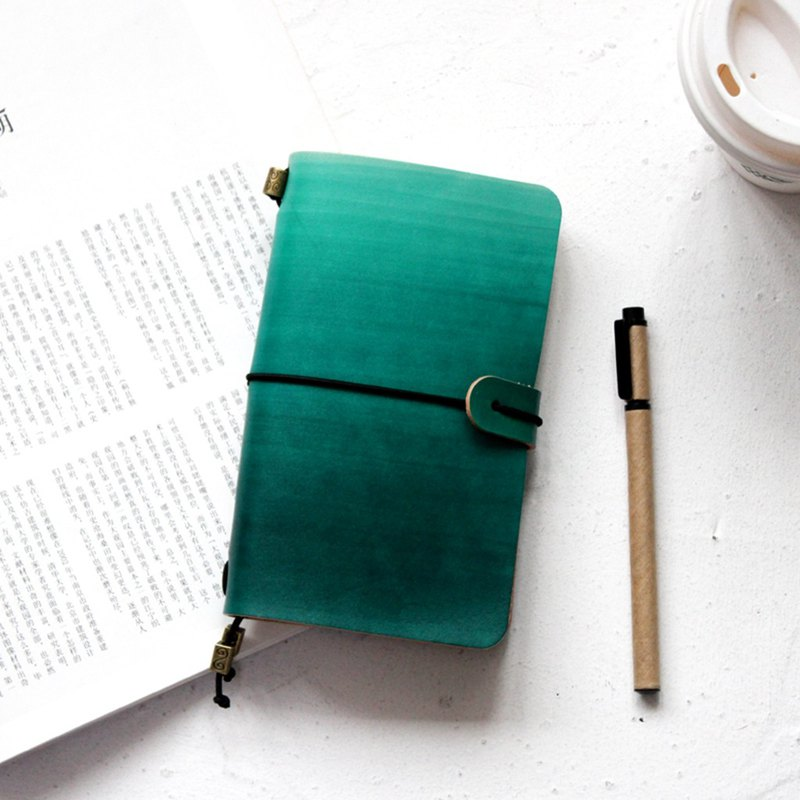 Dark green gradient handbook leather notebook / travel book / notepad can be customized exchange gifts