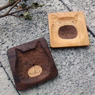 "【Original. Wood】 two-color good food _ three o'clock ""engraved"" _ dessert dish (1)"