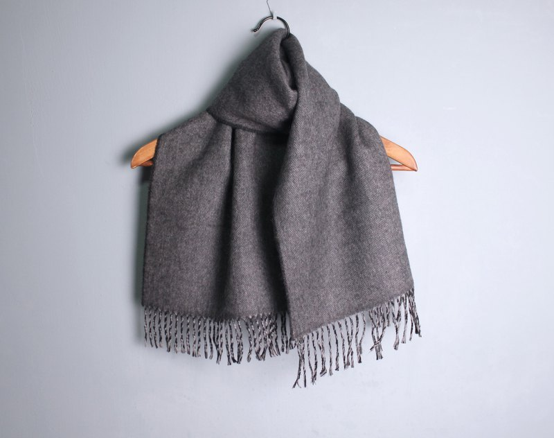 FOAK vintage soft gray black double-sided pure wool scarf