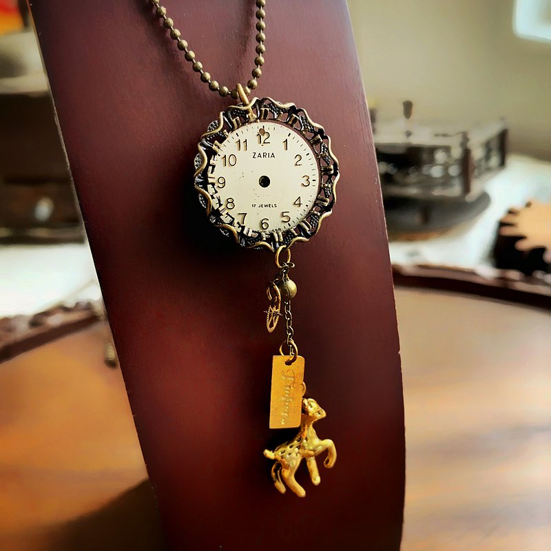 1960 deer deer antique watch movement necklace