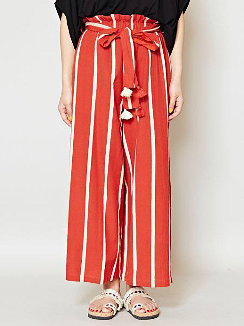 Pre-ordered neutral wind loose elastic banding flower stripe wide pants (tricolor) IDS-8520