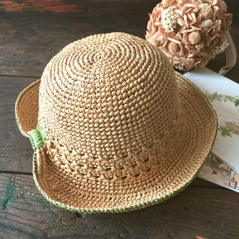 Elegant turn Handmade knit hat / sun hat / hand-knit (tied ponytail can be worn) 〖〗 handmade crazy hopscotch
