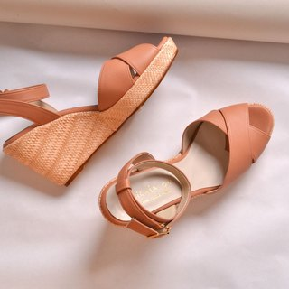 Wedge high-heeled sandals bare powder