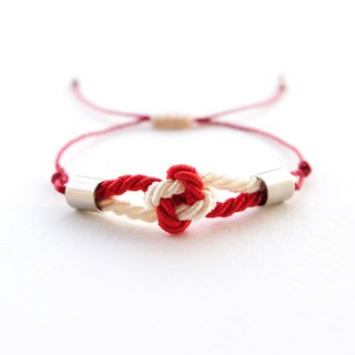 Tiny flower knot rope bracelet in Red / Cream