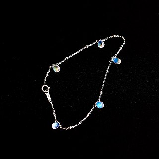Top vitreous water drop moonstone powerful blue halo 925 sterling silver bracelet natural stone light jewelry