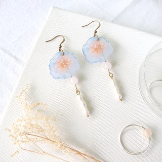 Flower Collection Handmade Earrings - Frost Flower Freshwater Pearl Powder Crystal Changeable Clip