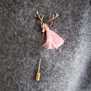 Golden sika deer with pink tassel brooch