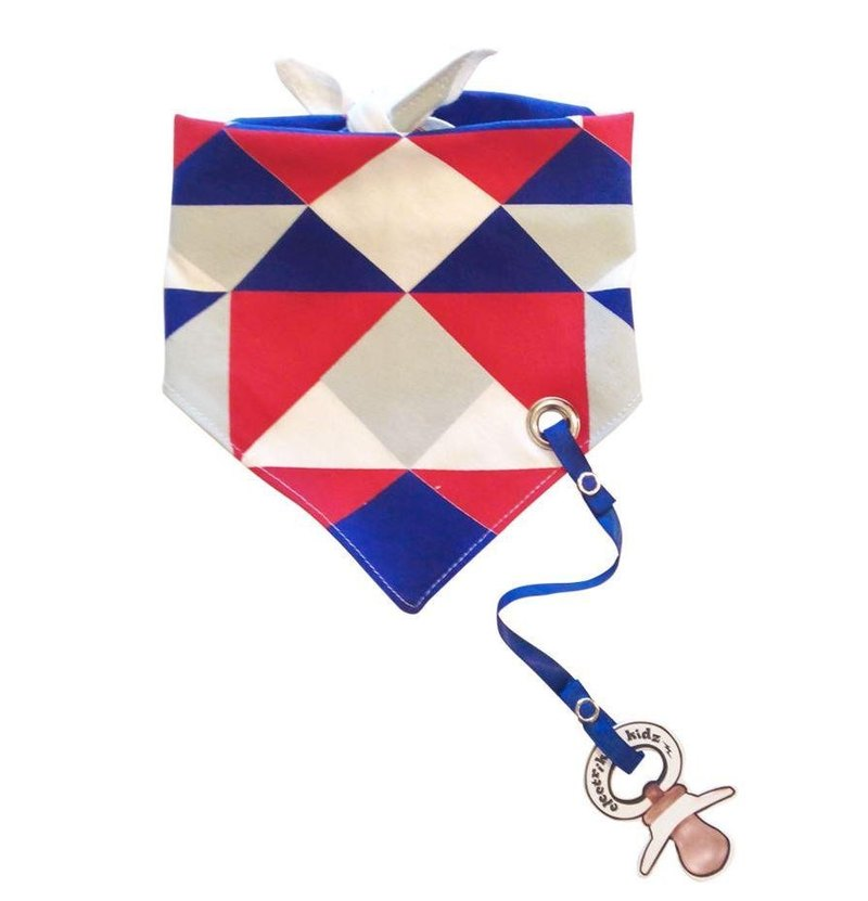 Color Block Collage Printed Bib Tie Scarf (with pacifier chain)