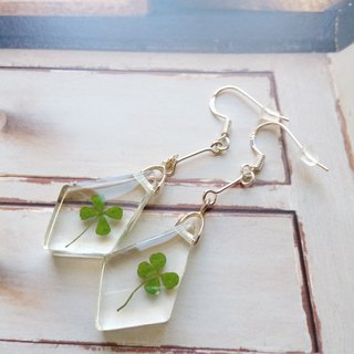Pressed Flower Earrings. Handmade Jewelry with Real Flowers, Lucky Clover