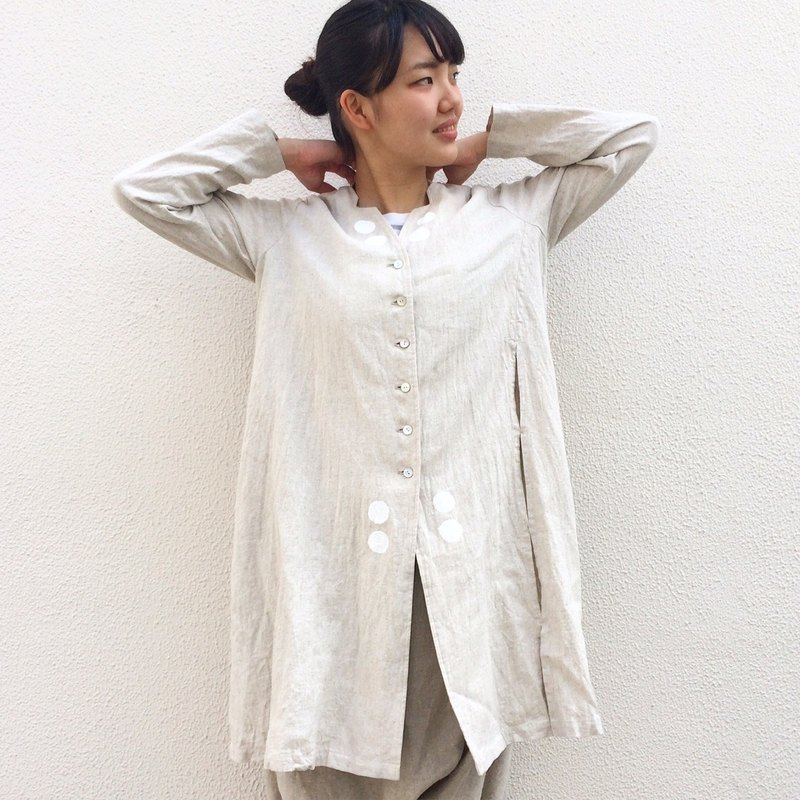 白とボーダー/リネン rain/white/linen/jacket/shirts/dot