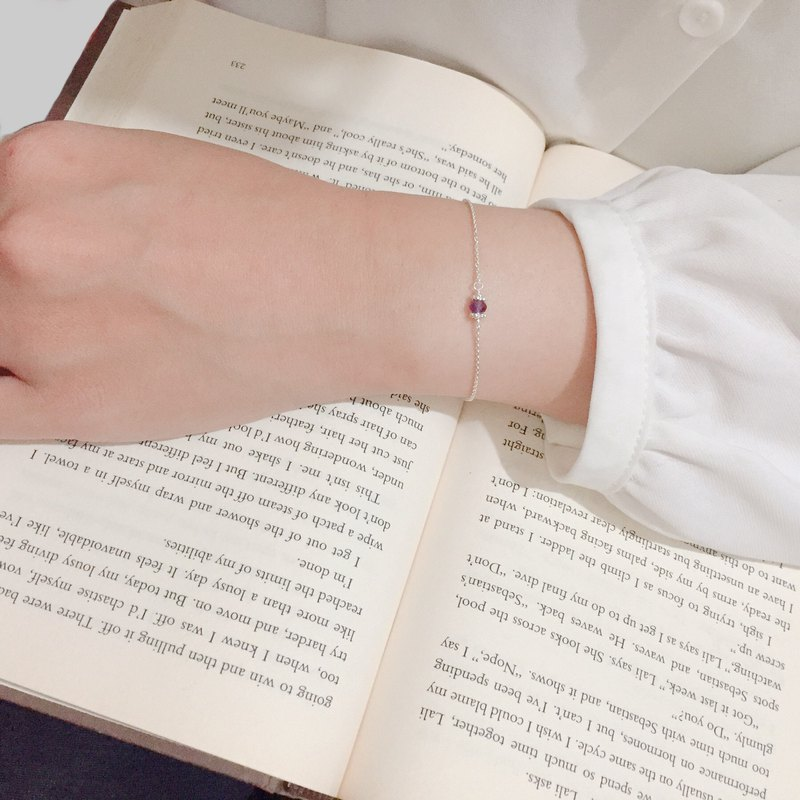 Mini natural stone sterling silver clavicle chain / bracelet