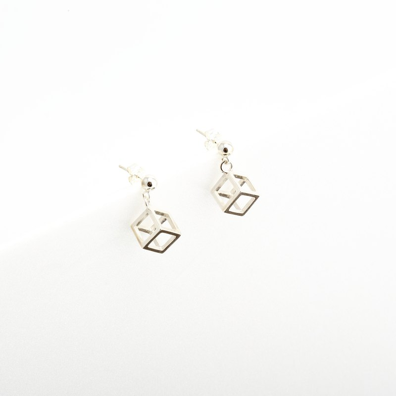 Cube Hollow s925 sterling silver earrings Valentine's Day gift