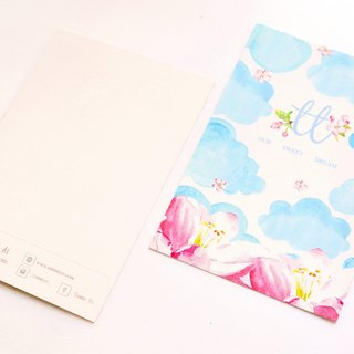OUR SWEET DREAM blue sky clouds pink flower postcard