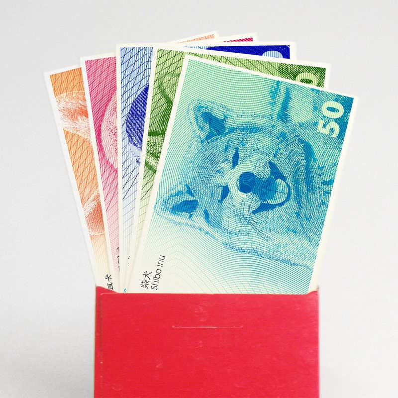 2018 Year of the Dog greetings card special offer 30 - Creative Dog Year Tokens - New Year greetings red envelope is - Year of the Dog paper currency bookmark