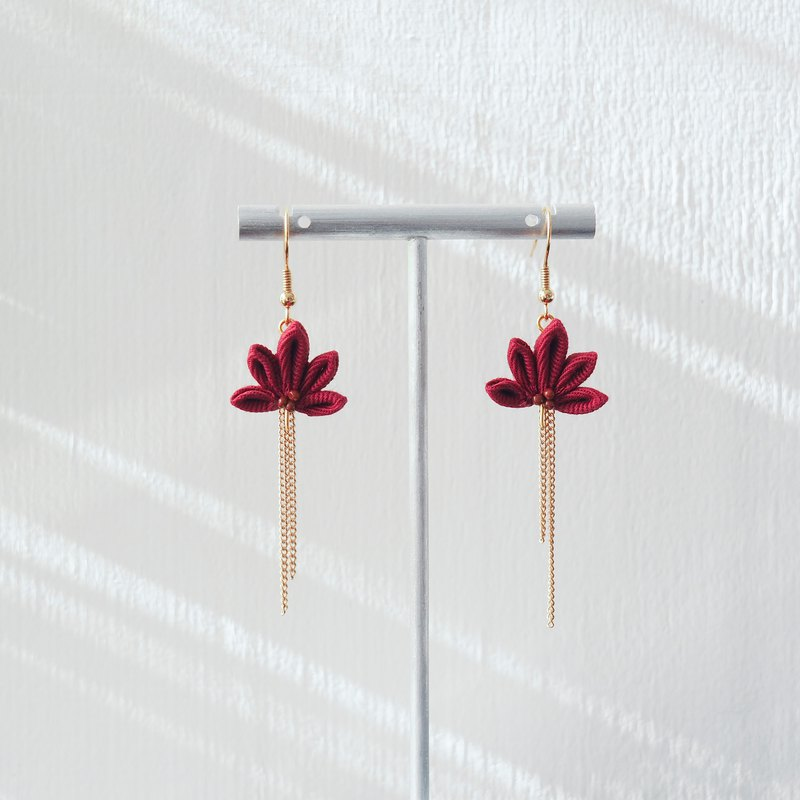 Fabric Maple (Burgundy) and Chain Drop Earrings Clip-on 14KGF, S925 custom