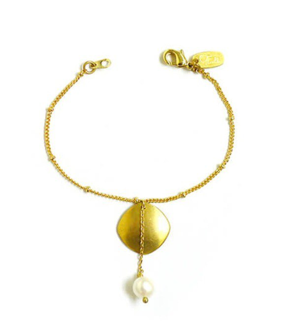 Ficelle | handmade brass natural stone bracelet | pearl] nostalgic like the sea - the eternal day