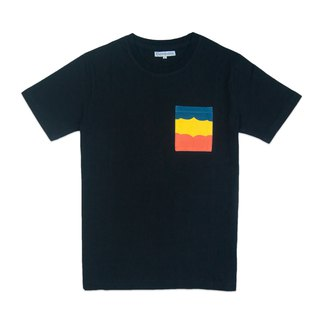 Dosquare - Cotton Black T-shirt with color-block design Pocket