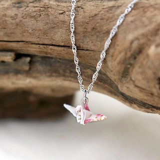 Mini cranes Necklace (white cherry hearts) - Valentine's Day gift