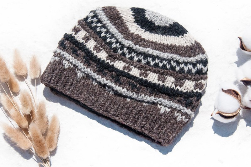 Hand-knitted pure wool cap / knit braided cap / inner brush hair hand-woven wool cap / wool cap - coffee latte