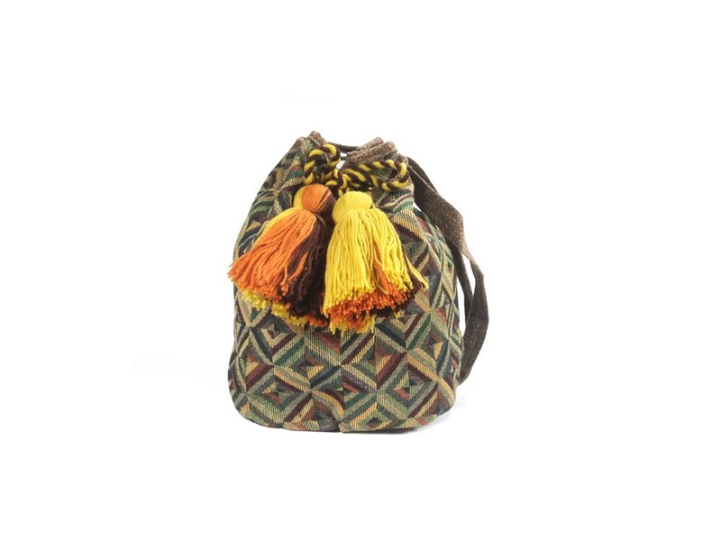 Pineapple Aztecs Hmong bucket bag cross body bag whit pom