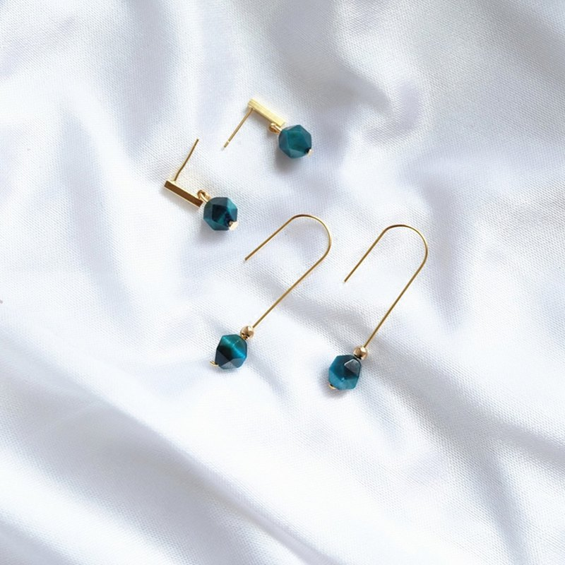 HiOnion blue Danube peacock blue tiger eye custom earrings 18K bag gold ear hook retro French ear clip
