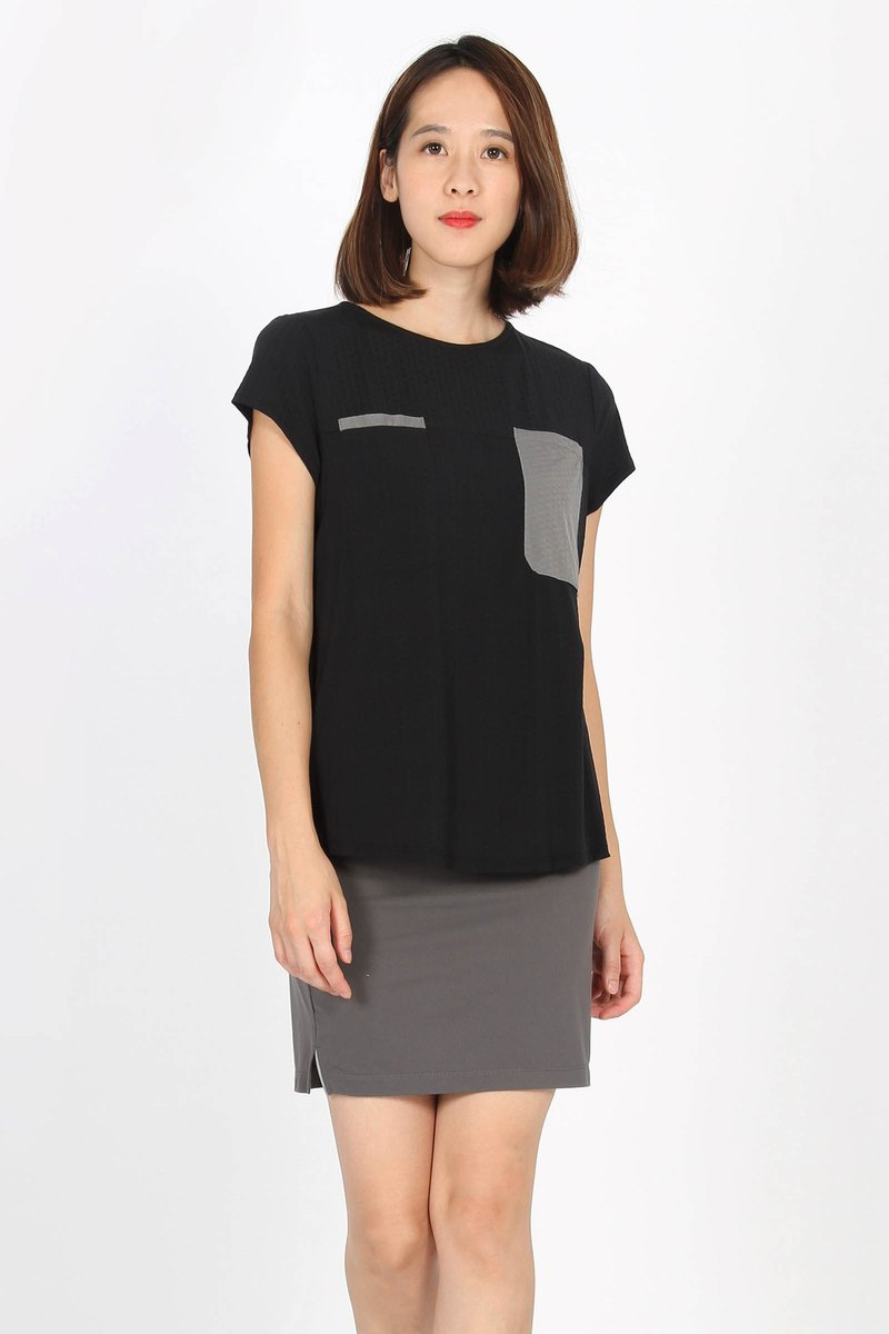 Tencel Double Pocket Waist Shirt - Black