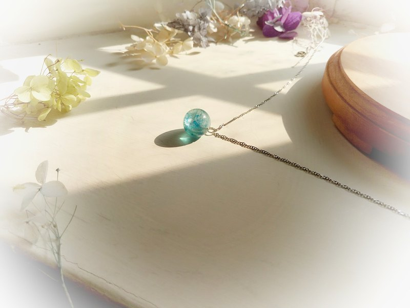 Midsummer Coral Blue Green Hydrangea Crystal Ball Clavicle Necklace