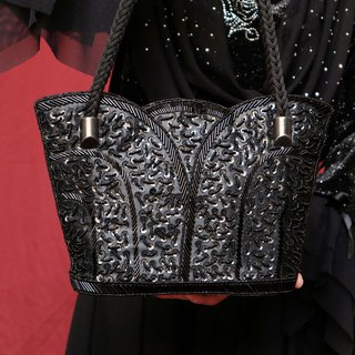 Pumpkin Vintage. Black gorgeous hand-embroidered beaded shoulder bag