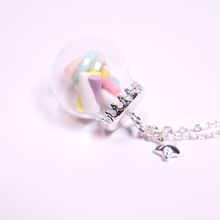 *Playful Design* Twist Marshmallow in Glass Ball Necklace
