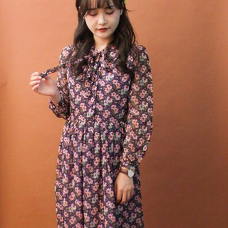 Vintage Autumn and Winter Elegant Purple Flowers Floral Bow Tie Long Sleeve Vintage Dress Vintage Dress