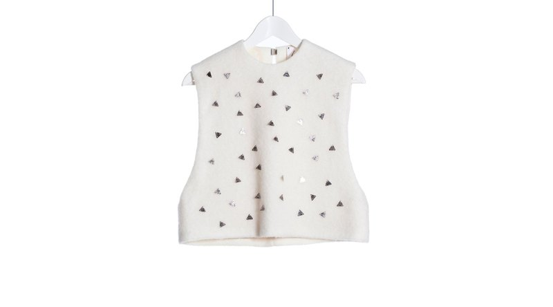 Out of print out clear 16 autumn and winter AW pure white wool 澎澎 back hook vest